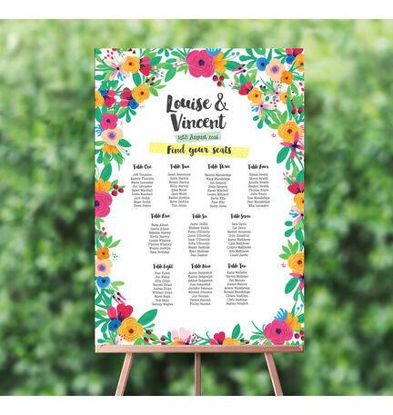 Floral Fiesta Wedding Seating Plan