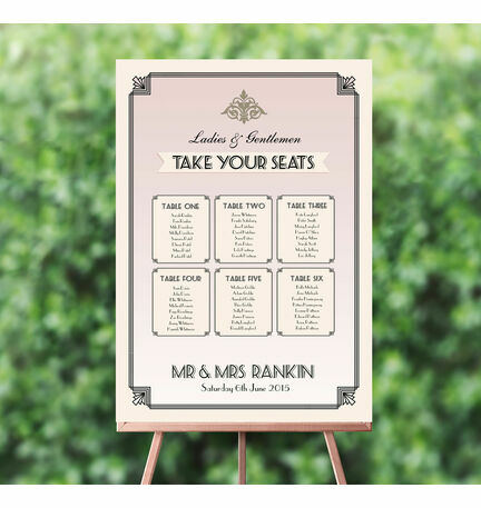 Pastel Art Deco Wedding Seating Plan