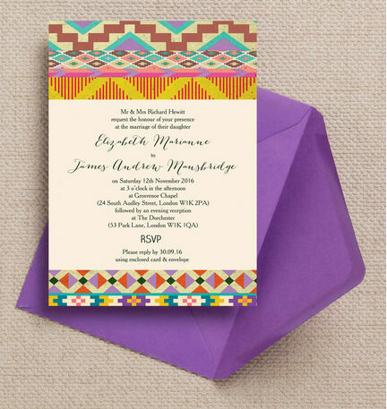 Aztec Ikat Wedding Invitation