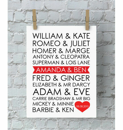 Personalised Famous Couples Valentine's Day Print