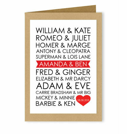 Personalised Famous Couples Valentine's Day Card