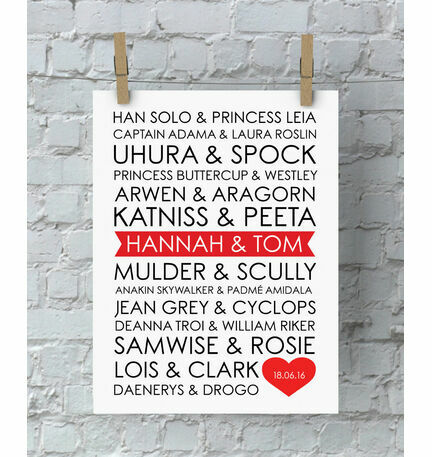 Personalised Sci-Fi Couples Valentine's Day Print