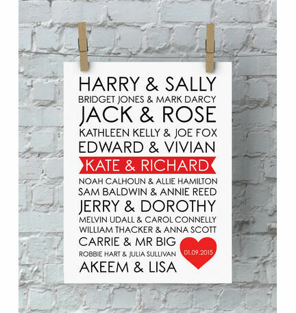 Personalised Rom-Com Couples Valentine's Day Print