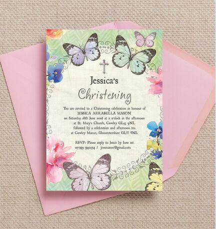 Butterfly Garden Christening / Baptism Invitation