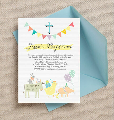 Farmyard Animals Christening / Baptism Invitation
