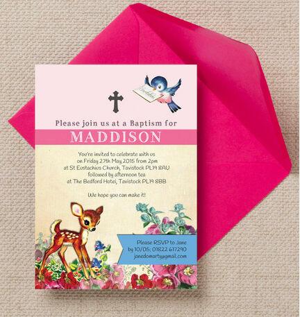 Vintage Deer Christening / Baptism Invitation