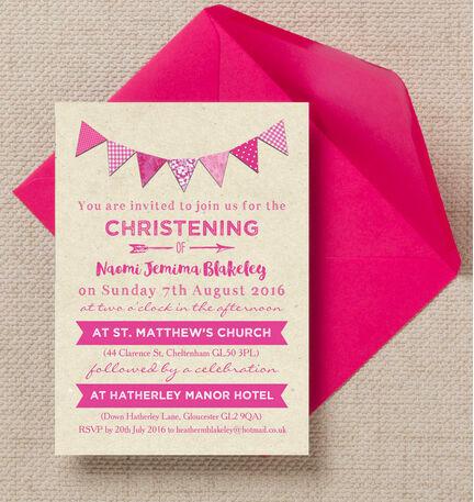 Vintage Pink Bunting Christening / Baptism Invitation