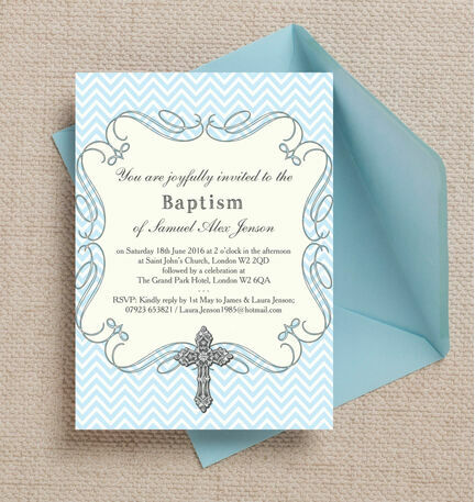 Ornate Cross Christening / Baptism Invitation