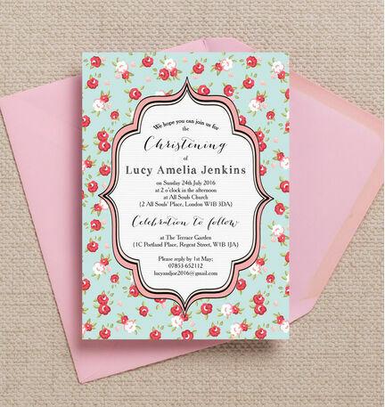 Vintage Rose Christening / Baptism Invitation