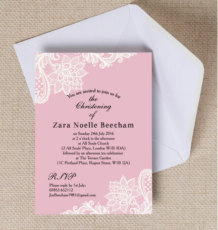 Pink White Vintage Lace Christening Baptism Invitation from