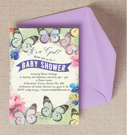 Butterfly garden baby shower invitation from 080 each butterfly garden baby shower invitation filmwisefo Images