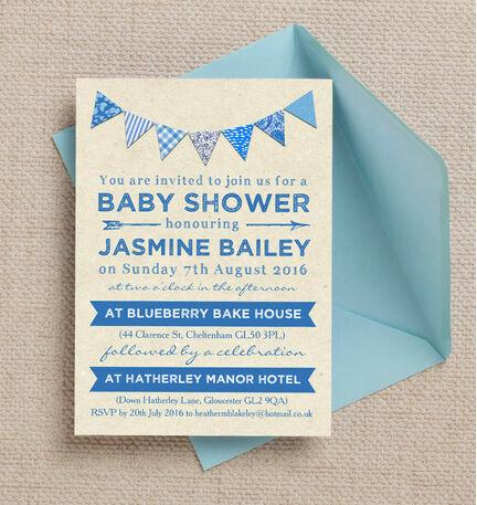 Vintage Blue Bunting Baby Shower Invitation