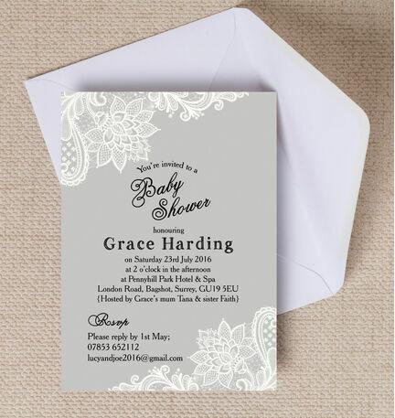 Grey & White Vintage Lace Baby Shower Invitation