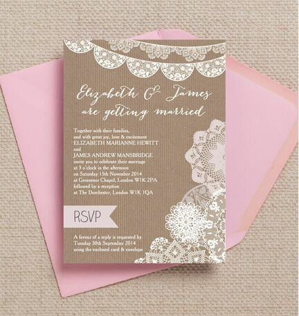 Rustic Lace Bunting Wedding Invitation