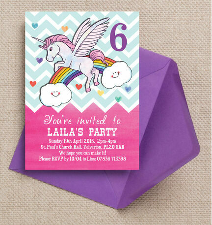 Rainbow Unicorn Party Invitation