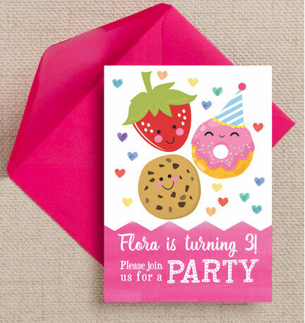 Cute Kawaii Donut, Cookie & Strawberry Party Invitation