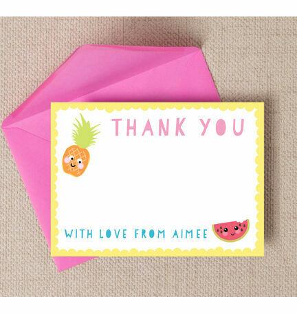 Kawaii Cute Fruit Thank You Cards