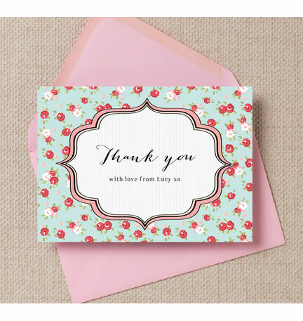 Vintage Rose Thank You Cards