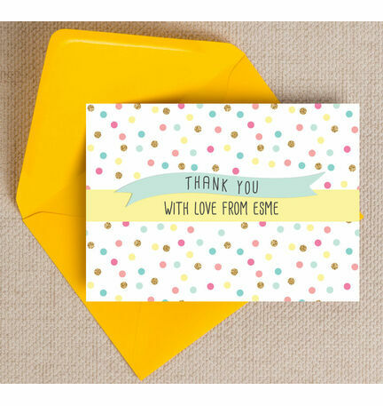 Pastel Confetti Personalised Thank You Cards