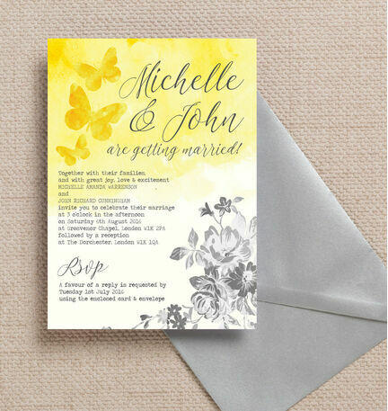 Yellow & Grey Watercolour Floral Wedding Invitation