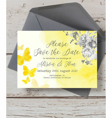 Yellow & Grey Watercolour Floral Save the Date