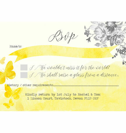 Yellow & Grey Watercolour Floral RSVP