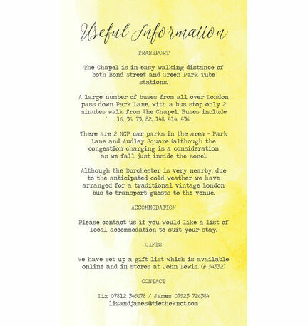 Yellow Watercolour Guest Information Card