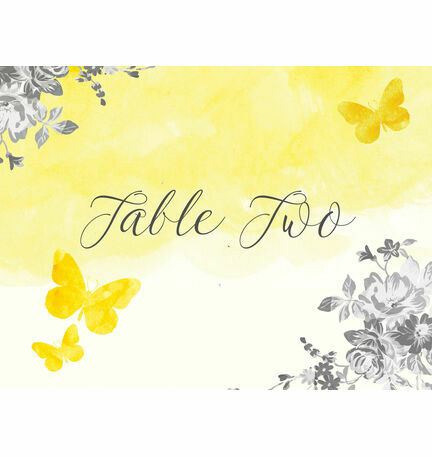 Yellow & Grey Watercolour Floral Table Name
