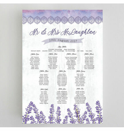 Lilac & Lavender Wedding Seating Plan