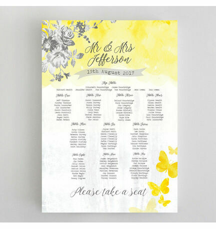 Yellow & Grey Watercolour Floral Wedding Seating Plan