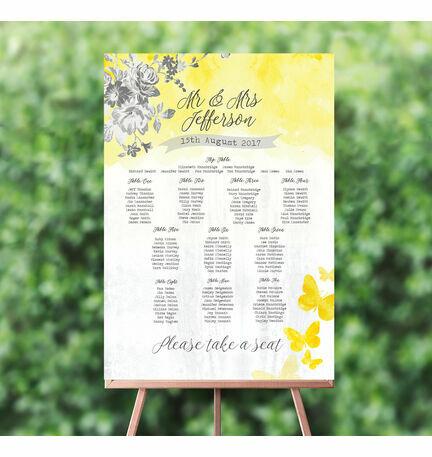 Yellow & Grey Watercolour Floral Wedding Seating Plan