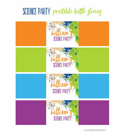 Mad Science Party Printable Bottle Sleeves