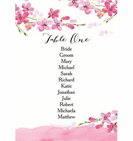 Cherry Blossom Table Plan Card