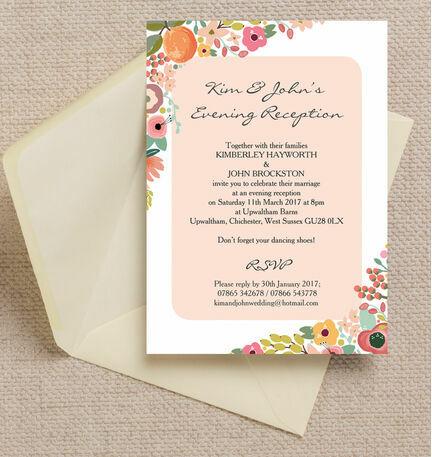 Elegant Floral Evening Reception Invitation