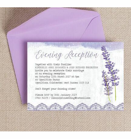 Lilac & Lavender Evening Reception Invitation