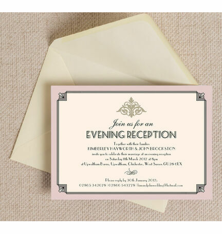 Pastel Art Deco Evening Reception Invitation