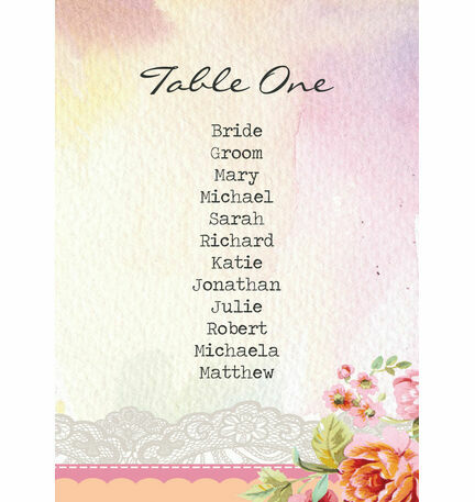 Pastel Watercolour Table Plan Card