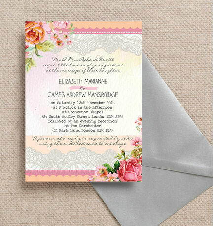 Pastel Watercolour Wedding Invitation