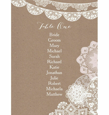 Rustic Lace Bunting Table Plan Card