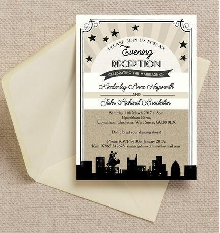 Vintage Hollywood Evening Reception Invitation