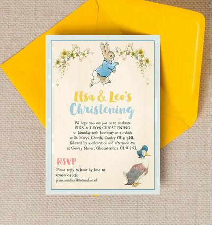 Peter Rabbit & Jemima Puddle Duck Christening / Baptism Invitation