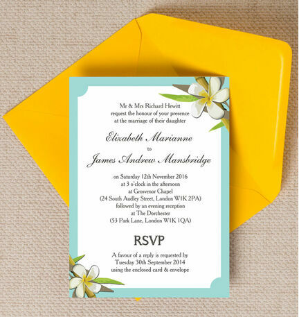 Tropical Beach Wedding Invitation