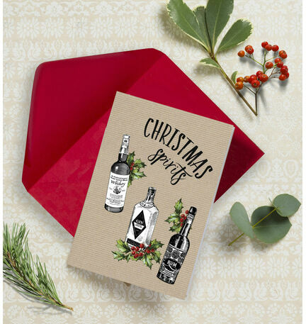 'Christmas Spirits' Non Personalised Christmas Cards - Pack of 10