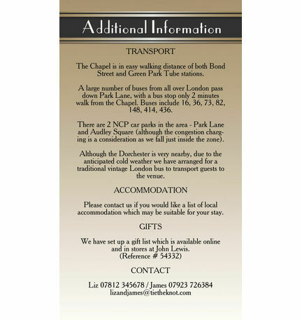 Art Deco Guest Information Card