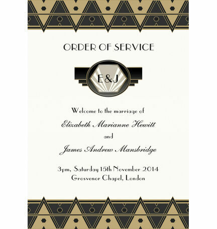 Art Deco Order of Service Cover