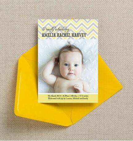 Chevron Birth Announcement Card