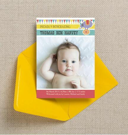 Circus Fun Birth Announcement Card