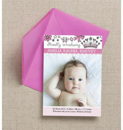 Fairy Princess Birth Announcement Card