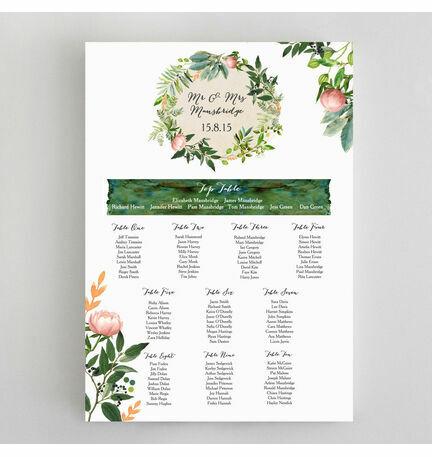 Flora Wreath Wedding Seating Plan