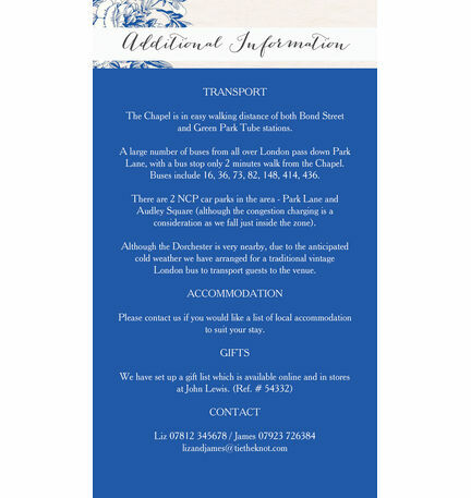 French Toile Guest Information Card